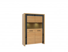 Large 2 Door Glass Fronted Display Cabinet with LED Lights Oak Wood Veneer Black Gloss Finish - Arosa
