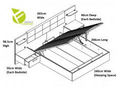 Elegant King Size Bed Frame Built-in Bedside Wall Cabinets USB LED Underbed Storage Lighting Oak/Black - Kassel (L99-LOZ/160/B-DMON/DCA-KPL01)