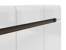 White High Gloss Large Sideboard Dresser Cabinet with Wenge Dark Wood Effect/White Gloss/Black Gloss inserts - Azteca Trio (S504-KOM3D3S/8/15-BI/BIP-KPL01)