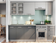 Light Grey Kitchen Wall Cabinet with Door 40cm Cupboard Unit - Paula