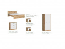 Modern 5 Part Bedroom Furniture Set King Size Bed Frame Wardrobe White Matt/Oak Finish - Matos (MATOS-BEDROOM1)