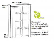 Scandinavian Compact Bookcase Storage Shelving Display Unit Cabinet with Door White Gloss/Oak - Holten