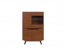 Retro Low 4-Door Display Cabinet LED Lights Glass Storage Unit Living Room Brown Oak - Madison