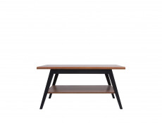 Retro Coffee Table Shelf Living Room Furniture 110 cm Black/Brown Oak - Madison
