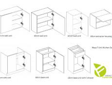Complete Kitchen Set of 7 Cabinets Units Flat Pack in White Matt – Nela 2 (STO-NELA_SET-7UNITS_1.8/2.4-WHITE)
