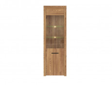 Modern Tall Glass Fronted Display Cabinet Unit with LED Light in Oak finish - Vasto