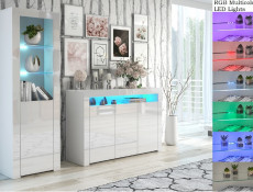 Modern White High Gloss Furniture Set with RGB LEDs: Wide Sideboard Unit & Tall Bookcase Display Cabinet - Lily (HOF-LILY-SLUPEK+3D-BI/BIP-LED-RGB)