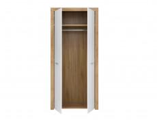 Modern 2 Door Double Wardrobe Shelf Hanging Rail 90cm Storage Unit Oak Effect White Gloss - Balder