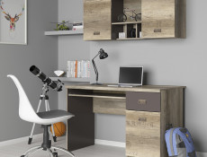 Urban Wide Wall Mounted Unit Living Room 2 Door Cabinet with Shelves 120cm Oak Effect and Grey Finish - Malcolm