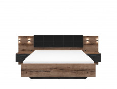 Elegant King Size Bedroom 3-Piece Set Built-in Bedside Cabinets Lighting Storage Cabinet Units Oak/Black - Kassel