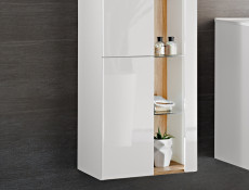 Modern White Gloss Wall Hung Bathroom Tall Cabinet Storage Unit with LED Light Glass Shelves - Bahama
