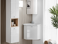 Vanity Cabinet Corner Unit Wall Mounted Bathroom with Ceramic Sink White Matt/White Gloss - Finka