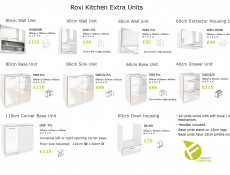 White High Gloss Kitchen Wall Cabinet Cupboard 40cm Unit - Roxi (Roxi W40 P/L)