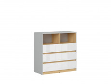 Modern Chest of 3 Drawers and Open Shelving Unit Kids Bedroom Soft Closing White Gloss/Grey/Oak - Nandu
