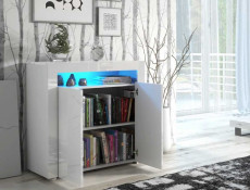 Square Small Sideboard Display Cabinet White High Gloss with Blue LED Light - Cheri