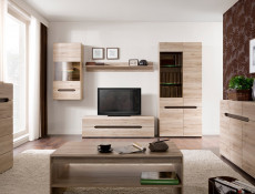Modern Glass Fronted Sideboard Dresser Display Cabinet in Light Oak Effect Finish with LED Lights- Elpasso (S314-KOM2W1D3S-DSAJ/DWB-KPL02+LED)