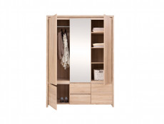 White Gloss Three 3 Door Triple Wardrobe with Mirror - Kaspian W