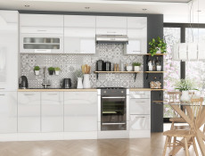 White High Gloss Kitchen Extractor Housing Wall Cabinet 600 Cupboard 60cm Hanging Unit - Rosi