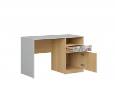 Modern White Gloss/Grey/Oak Study Desk with Storage Drawer Kids Bedroom Emoji/Comic Script - Nandu  (S441-BIU1D1S-JSZ / DP / BIP / SCR)