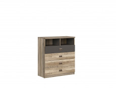 Urban Oak & Grey Chest of Drawers with Four Storage Drawers and Two Open Shelves - Melton (M243-KOM4S-DAMO/SZW/DAMON-KPL01)