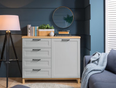 Scandinavian Sideboard Small Cabinet Dresser with Drawers in Grey & Oak - Haga