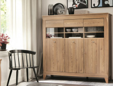 Traditional Light Oak Wide Glass Display Sideboard Cabinet Showcase Storage 3 Door Unit with LED Light - Bergen (S359-REG3W-MSZ-KPL01)
