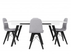 Modern Grey Dining Chair Wooden Black Legs Grey Padded Seat Eames Eiffel Retro Style - Azteca Trio
