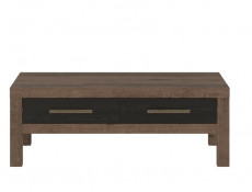 Modern Coffee Table Rectangular with 2 Drawers Oak/Black - Balin