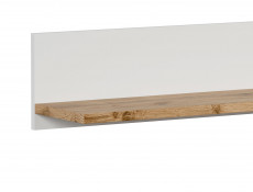 Scandinavian Wall Mounted Storage Floating Shelf Unit 156cm Panel White/Oak - Holten
