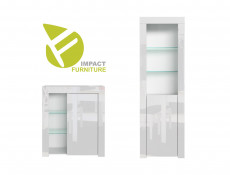 Modern White High Gloss Display Cabinet Set: Tall & Compact Bookcases with Glass Shelving - Lily