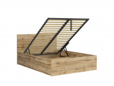 Modern Sturdy Ottoman Double Bed Frame Gas Lift Up Storage Wotan Oak - Tetrix