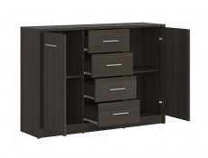 Sideboard Dresser Cabinet Modern Living Room Storage Wenge, White or Sonoma Oak Finish - Nepo (S435-KOM2D4S-WE-KPL01)