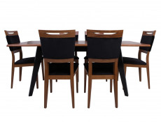 Retro Dining Room Set Extendable Table & 4 Wooden Chairs Black/Brown Oak - Madison