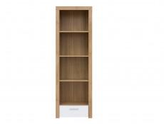 Modern Tall 62cm Bookcase Shelving Cabinet Storage Unit Oak Effect with White Gloss Drawer - Balder