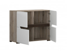 Square Small Contemporary Sideboard Cabinet White High Gloss / Oak - Azteca