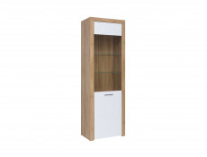 Tall Glass Fronted Display Cabinet White Gloss & Oak finish - Balder