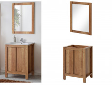 Classic Freestanding 60cm Vanity Bathroom 600 Cabinet, Ceramic Sink and Wall Mirror - Classic Oak