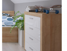 Modern Living Room Chest of 4 Drawers 90cm Cabinet Storage Unit Oak Effect and White Gloss - Balder