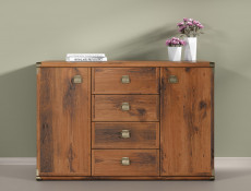 Modern Large Sideboard Dresser Cabinet Storage Unit with 2 Doors and 4 Drawers in Dark Oak Effect Finish - Indiana (S31-JKOM2d4s-DSU-KPL01)