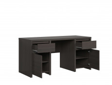 Modern Office Study Furniture Desk Bookcase Shelving Wall Unit Set Brown Wenge Finish - Kaspian
