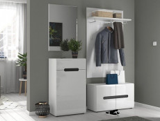 Modern Hallway 2-Door Low Shoe Cabinet Floor Standing with Shelving White/White High Gloss - Azteca Trio