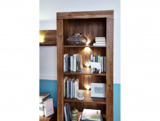Modern Tall Display Glass Cabinet Bookcase Storage Unit LED Lights Oak - Gent (S228-REG2S/20/7-DAST-KPL01)
