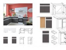 Junona Line Kitchen Set 8 Units in Grey Wolfram / White Gloss