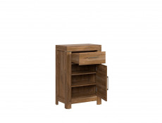 Modern Oak Effect Cabinet Side Table 1 Door 1 Drawer Bedside Storage Office Unit - Gent