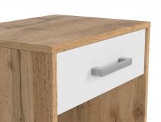 Modern Bedside Cabinet Side Table 1 Drawer 45cm White Matt/Oak finish - Matos (S414-KOM1S-DWO/BI)