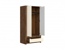 Modern Double Wardrobe 2 Doors 1 Drawer in Cream Gloss and Dark Oak - Ruso (S407-SZF2D1S-DARL)