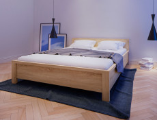 Modern Low Double Bed Frame in Wenge Finish - Kaspian