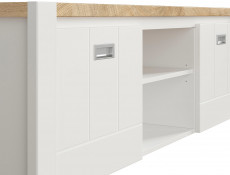 Country Media Table TV Stand Storage Cabinet Unit White/Oak 160cm - Dreviso