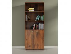 Modern Tall Wide Bookcase Shelf Cabinet Shelving Unit with 2 Door Cupboard Dark Oak Effect Finish - Indiana (S31-JREG2do-DSU-KPL01)