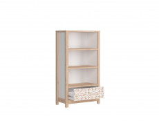 Short White / Beech Bookcase Shelving Unit with Drawer Modern Kids Baby Nursery Furniture Horse Motif - Timon